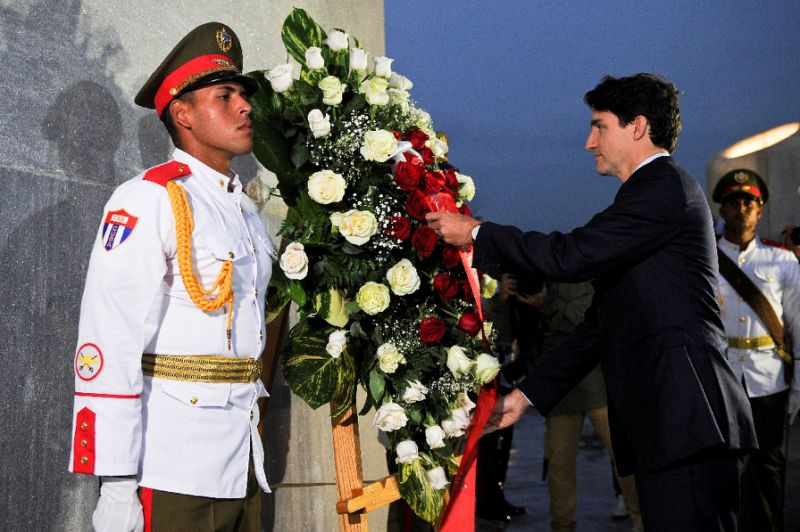 Canada First Minister Justin Trudeau places a wreath at the Jose Marti monument at Revolution Square