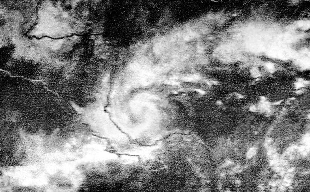 Hurricane Martha (1969) on November 21, 1969. The system was a strong tropical storm at this time. It attained hurricane intensity around 00Z on November 22.