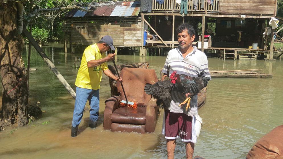 Cristian Lobo Bolaños, vecino de San Rafael de Upala, mostró un gallo y una gallina, los únicos animales domésticos que logró salvar de la inundación. | CARLOS HERNÁNDEZ