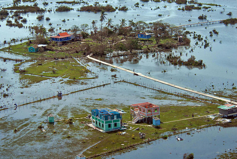 Aerial picture taken on September 6, 2007, in the village of Sandy Bay, Nicaragua, after the passage of Hurricane Felix. The southernmost Category 5 Atlantic hurricane on record, Felix caused 133 deaths, nearly all in Nicaragua, and destroyed thousands of homes in the city of Bilwi. Image credit: Oscar Navarrette/AFP/Getty Images.