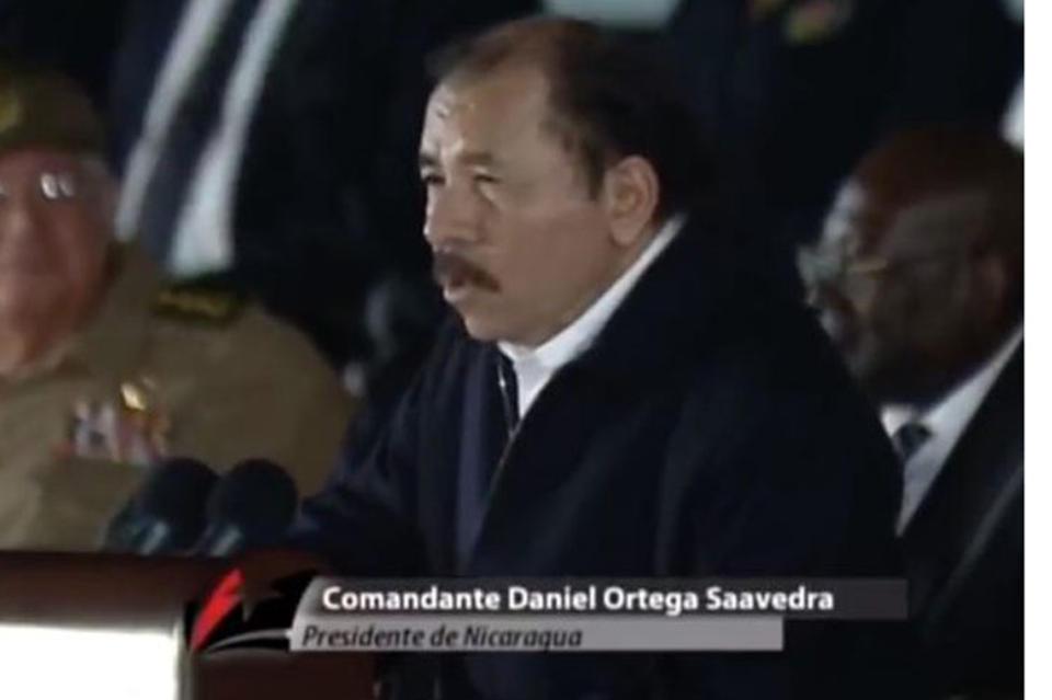 Daniel Ortega speaking at the memorial service for Fidel Castro in La Havana Tuesday night