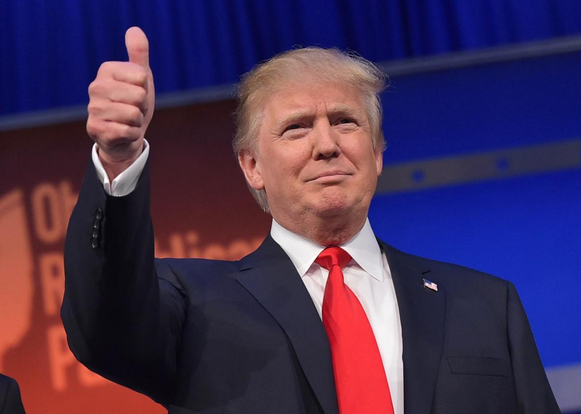 Donald Trump flashing the thumbs up
