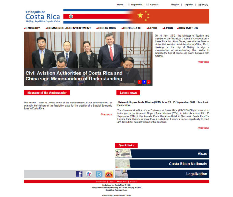 Costa Rica Embassy in China Website Hacked. But Was It A Current Government Website?