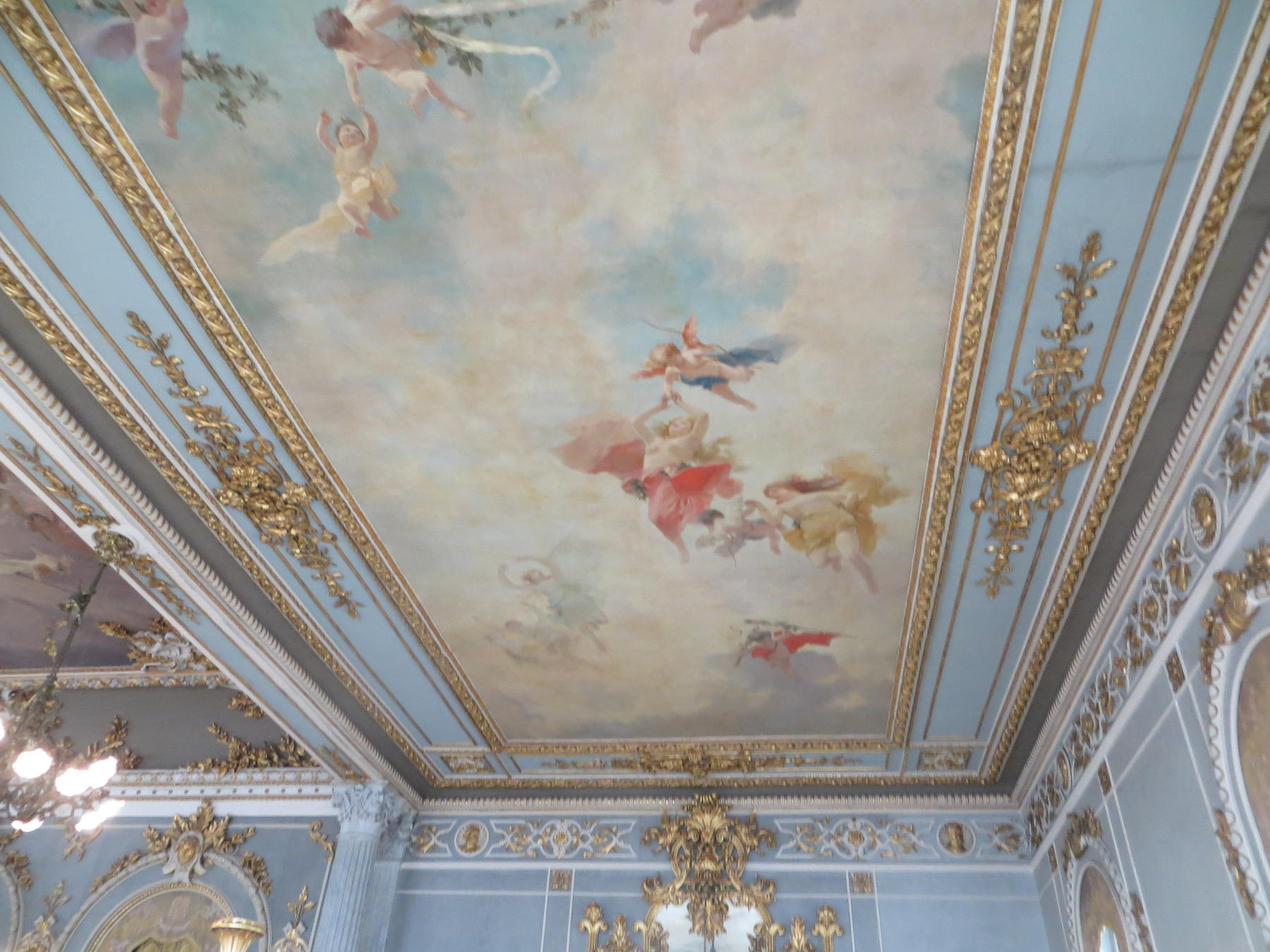 Some of the angelic ceiling art in the Foyer.