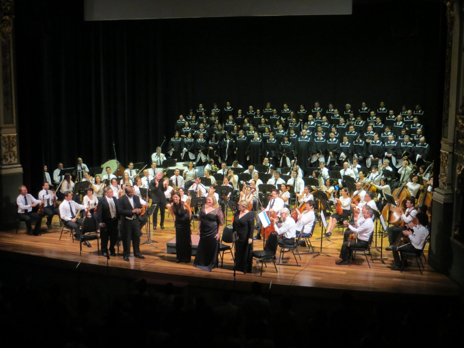 Costa Rica's National Symphony Orchestra, along with a chorus and soloists, bask in the applause after a fabulous performance of Beethoven's 9th Symphony.