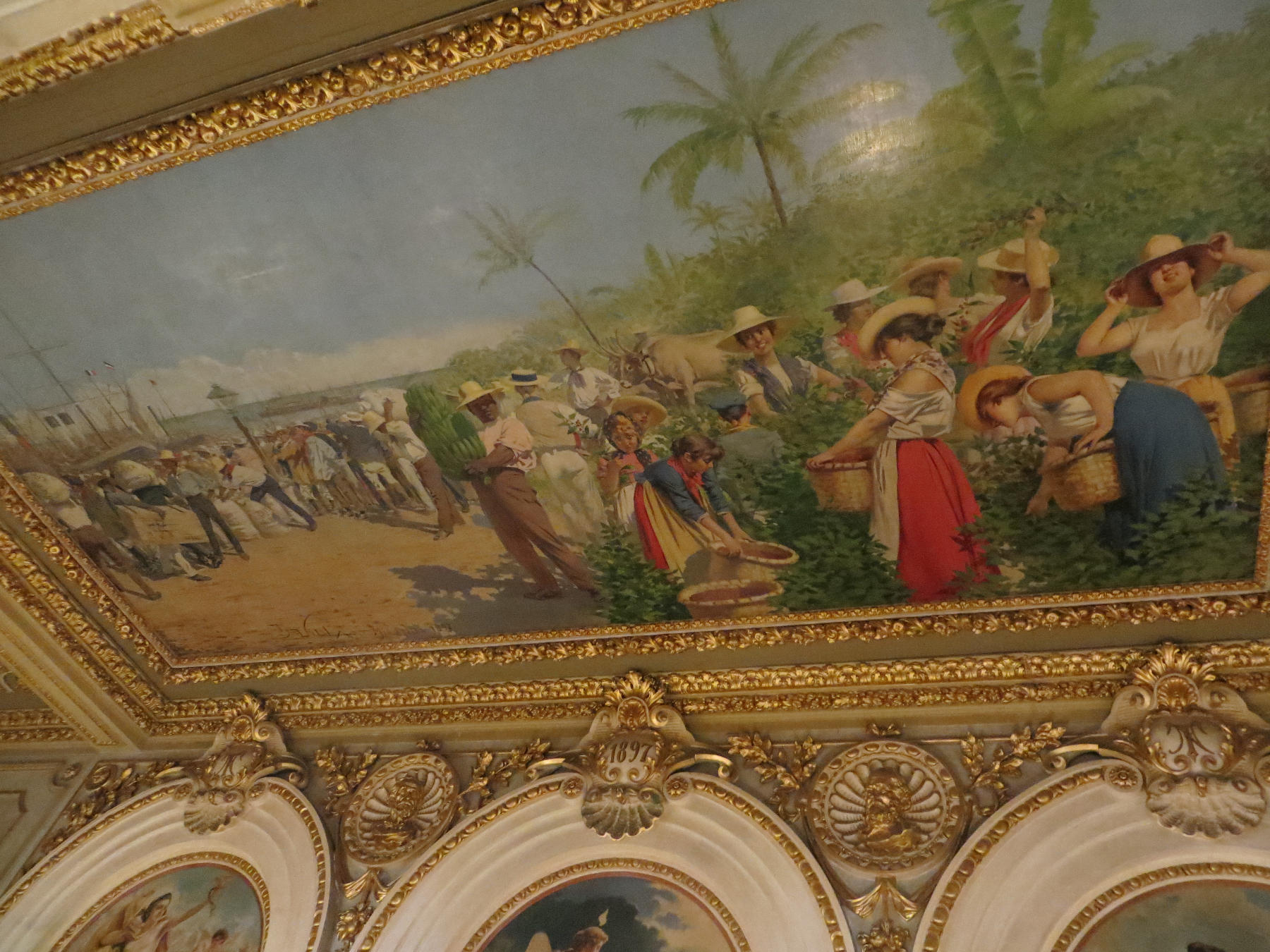 """The most famous painting in Costa Rica, titled """"The Allegory of the Coffee and the Bananas"""" was supposed to be a composite of typical scenes in the country."""