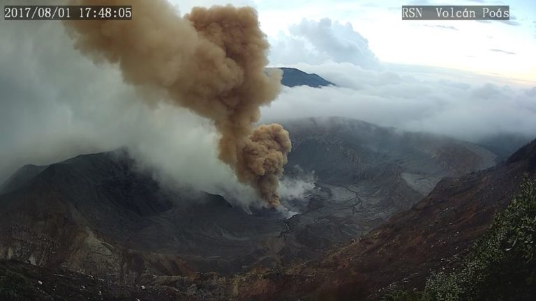 Images And Video of Poas Volcano Eruption Of Aug 1, 2017