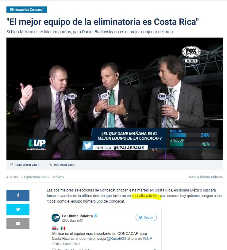 "According to FoxSports, Costa Rica Is An ""Island"""
