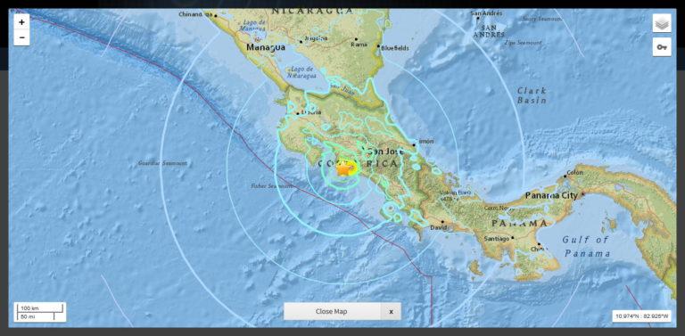 Seamounts Explain Sunday Night's Strong Earthquake in Jacó