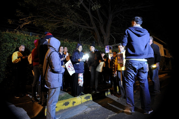 Anti Abortion Group Gathers In Prayer Outside President Solis' Home
