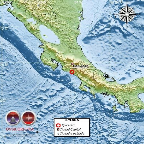 5.0 Quake Shakes Costa Rica Monday Afternoon