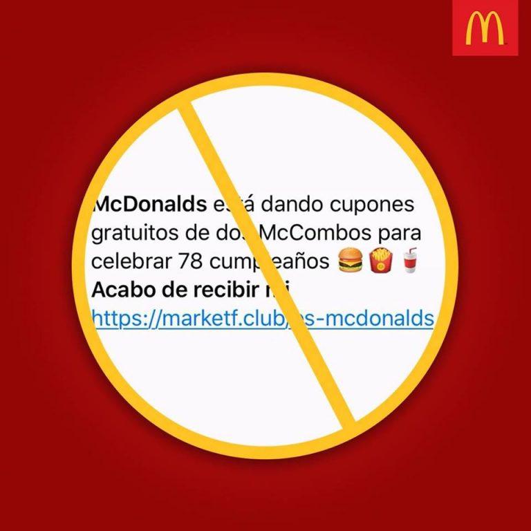 McDonald's Costa Rica is not giving away combos on WhatsApp