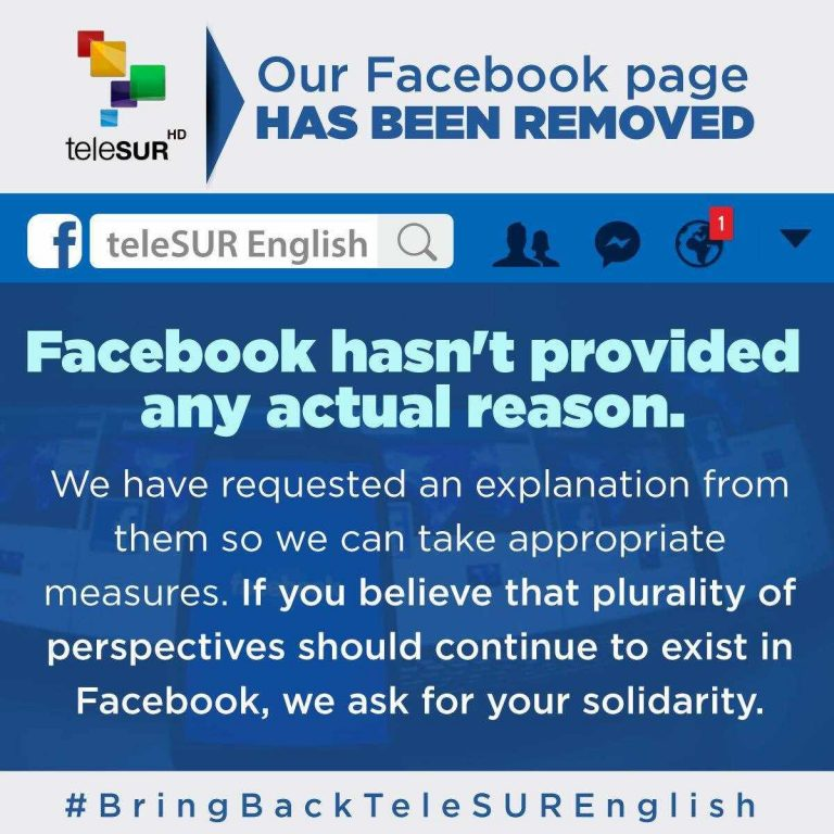 Telesur Says Facebook Deleted Outlet's English Page