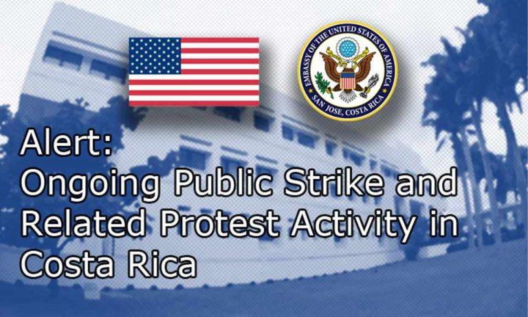 U.S. Embassy Alerts Its Citizens On Strike in Cost Rica