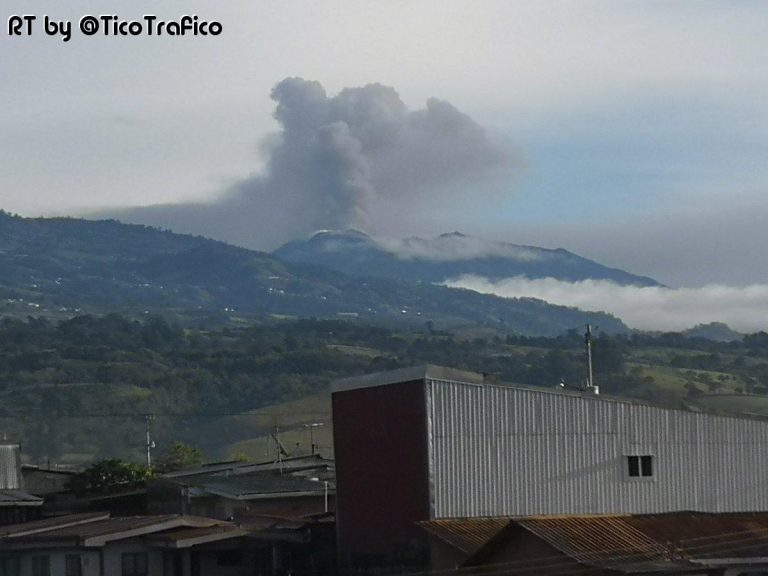Turrialba Volcano Seen From Paraiso This Monday Morning