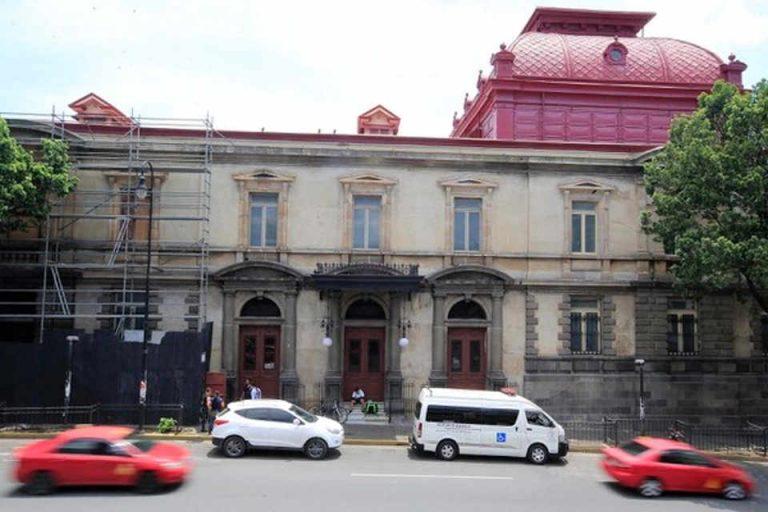 Urine and vandalism mar the facade of the Teatro Nacional