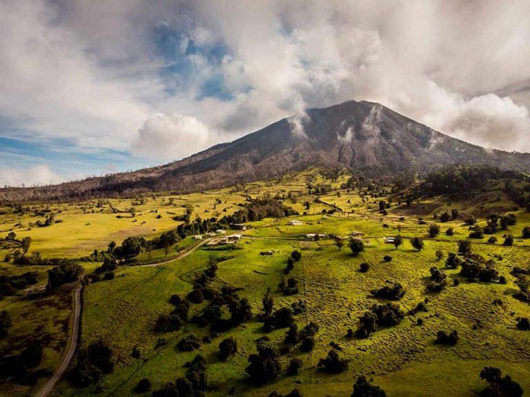 Acid rain and ash falling on the Turrialba Volcano