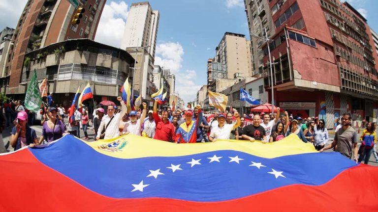March in Caracas Against US Blockade