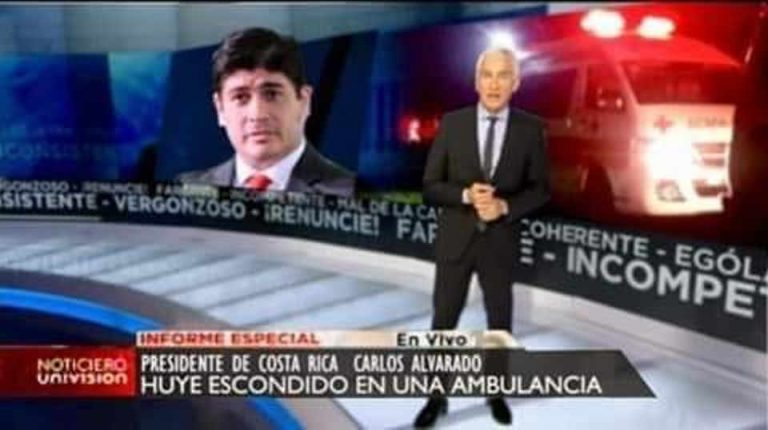 Did President Alvarado Sneak Out In An Ambulance To Avoid Protests? No.