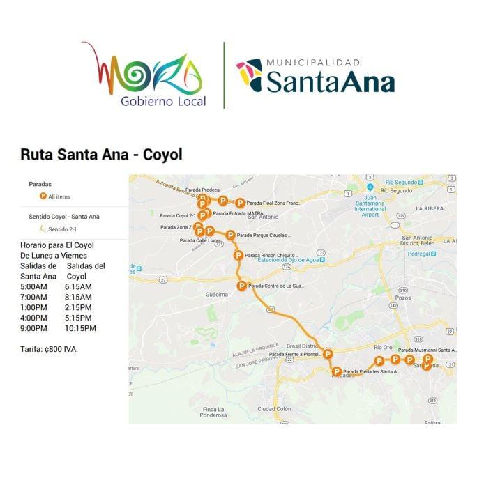 New Bus Service Between Santa Ana and Coyol