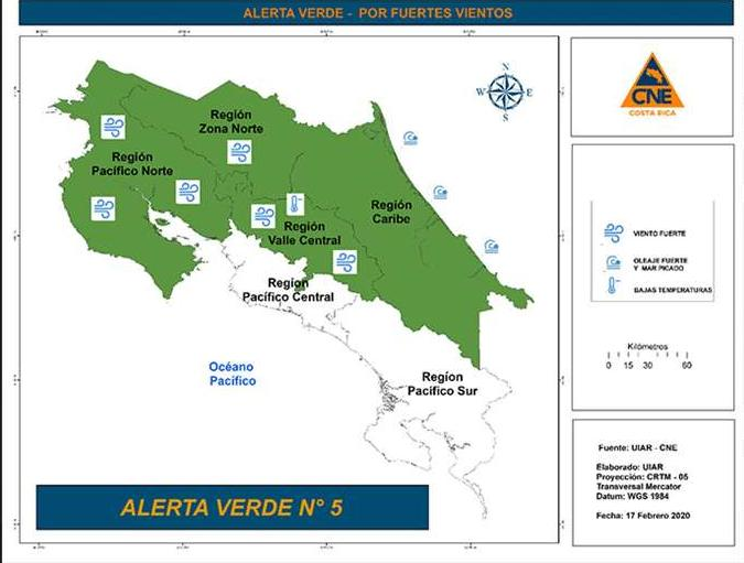 Green alert for the North Zone, Central Valley, North Pacific and Caribbean due to strong wind and waves