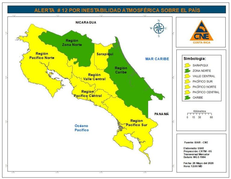 Yellow alert in Guanacaste and Green alert other parts of the country