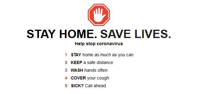 STAY HOME. SAVE LIVES. Help stop coronavirus.