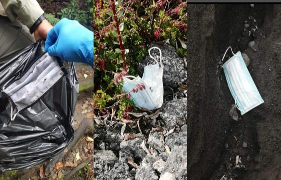 Visitors to the Irazú volcano leave discarded masks in green areas and trails