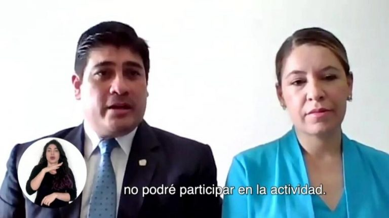Carlos Alvarado and Claudia Dobles working from home after having 'indirect' contact with a person with covid-19