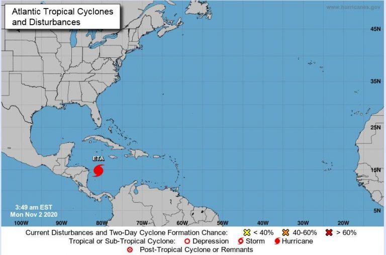 Tropical storm Eta strengthens, heading to Nicaragua's Caribbean