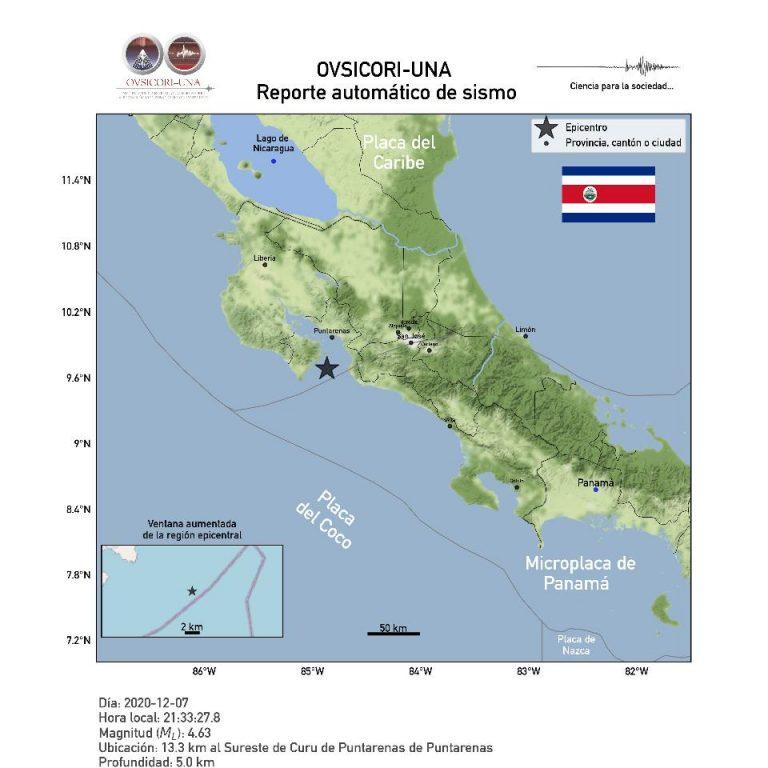 4.6 Quake shakes southern Puntarenas