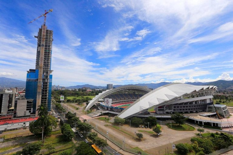 Costa Rica's tallest building in Costa Rica towers over the National Stadium