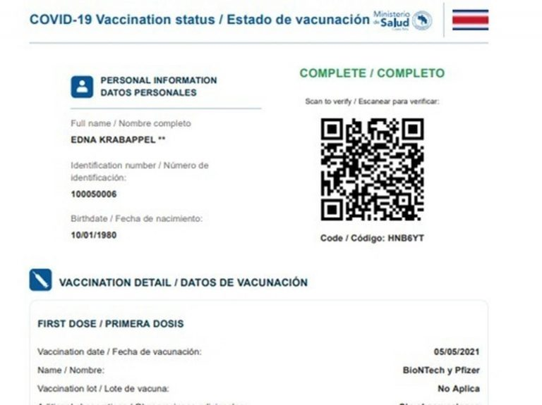 Health includes QR code to validate online vaccination certificate